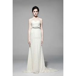 Sheath/Column Floor-length Wedding Dress -Sweetheart Lace