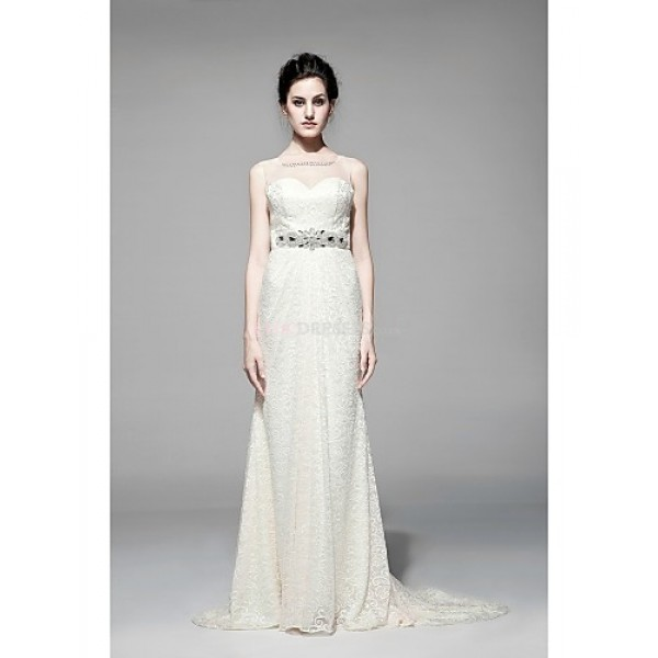 Sheath/Column Floor-length Wedding Dress -Sweetheart Lace Wedding Dresses