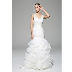 Trumpet/Mermaid Wedding Dress - White Court Train V-neck Organza