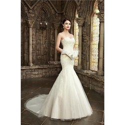 Trumpet Mermaid Wedding Dress Court Train Sweetheart Lace Satin Tulle