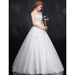 Ball Gown Wedding Dress White Floor Length Strapless Satin Tulle