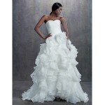 A-line Chapel Train Wedding Dress -Sweetheart Organza Wedding Dresses