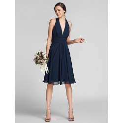 Knee-length Chiffon / Satin Bridesmaid Dress - Dark Navy Plus Sizes / Petite Sheath/Column Halter