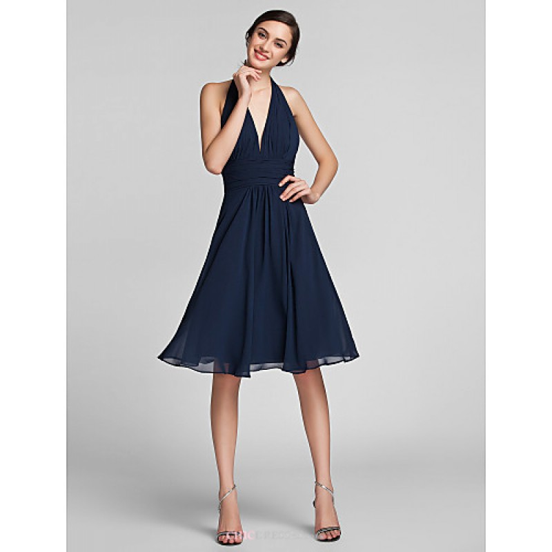 Knee length chiffon satin bridesmaid dress dark navy for Navy plus size dress for wedding