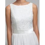 Floor-length Chiffon / Lace Bridesmaid Dress - Ivory Plus Sizes / Petite Sheath/Column Bateau Bridesmaid Dresses
