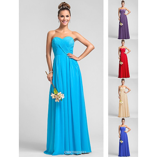 Wedding Party / Formal Evening / Military Ball Dress - Pool Plus Sizes / Petite A-line Sweetheart Floor-length Chiffon Bridesmaid Dresses