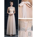 Ankle-length Chiffon Bridesmaid Dress - Champagne A-line V-neck Bridesmaid Dresses