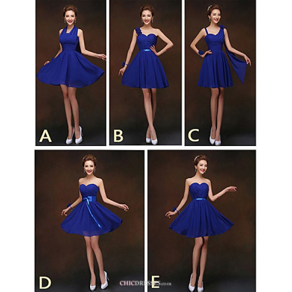 Mix & Match Dresses Short/Mini Chiffon 5 Styles Bridesmaid Dresses (2840138) Bridesmaid Dresses