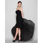 Asymmetrical Chiffon Bridesmaid Dress - Black Plus Sizes / Petite Sheath/Column Sweetheart Bridesmaid Dresses