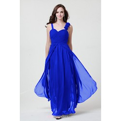 Floor Length Chiffon Bridesmaid Dress Ruby Fuchsia Regency Royal Blue Pool Daffodil Black Silver Sheath Column Straps