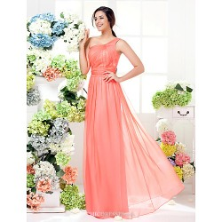 Floor Length Chiffon Bridesmaid Dress Watermelon Plus Sizes Petite Sheath Column One Shoulder