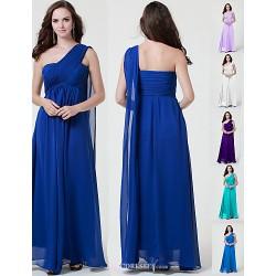 Floor-length Chiffon Burgundy / Royal Blue / Ivory / Silver / Black Link Blue Bridesmaid Dress A-line Strapless