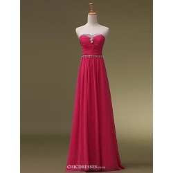 Floor Length Chiffon Bridesmaid Dress Blushing Pink Ruby Grape Royal Blue White Sky Blue Fuchsia Watermelon A Line