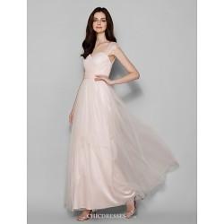 Floor Length Tulle Bridesmaid Dress Pearl Pink Plus Sizes Petite Sheath Column Queen Anne