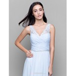 Ankle-length Chiffon / Lace Bridesmaid Dress - Sky Blue Sheath/Column V-neck Bridesmaid Dresses