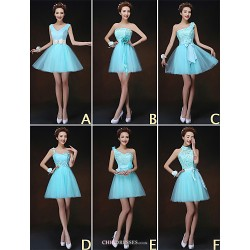 Mix & Match Dresses Short Mini Tulle And Lace 6 Styles Bridesmaid Dresses (3227834)