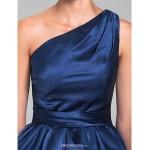 Short/Mini Satin Bridesmaid Dress - Dark Navy Plus Sizes / Petite A-line One Shoulder Bridesmaid Dresses