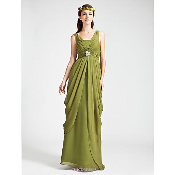 Floor-length Chiffon Bridesmaid Dress - Clover Plus Sizes / Petite Sheath/Column V-neck / Straps Bridesmaid Dresses