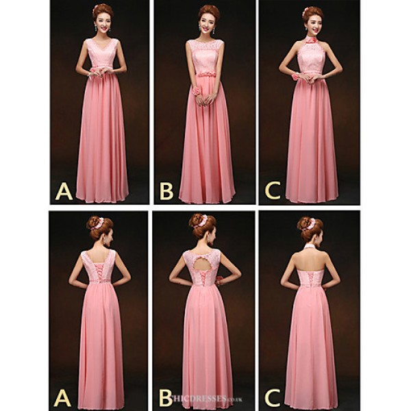 Mix & Match Dresses Floor-length Chiffon and Lace 3 Styles Bridesmaid Dresses (2859514) Bridesmaid Dresses