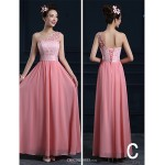 Ankle-length Chiffon Bridesmaid Dress - Candy Pink A-line Strapless Bridesmaid Dresses