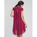 Asymmetrical Chiffon Bridesmaid Dress - Fuchsia Plus Sizes / Petite Sheath/Column High Neck Bridesmaid Dresses