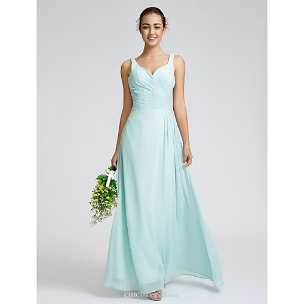 Ankle-length Georgette Bridesmaid Dress - Sky Blue Sheath/Column Sweetheart Bridesmaid Dresses