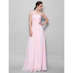 Floor Length Chiffon Bridesmaid Dress Blushing Pink A Line Strapless