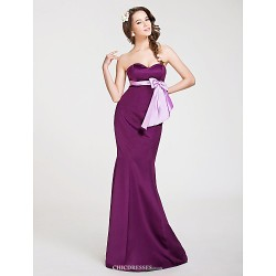 Floor Length Satin Bridesmaid Dress Grape Plus Sizes Petite Trumpet Mermaid Strapless Sweetheart