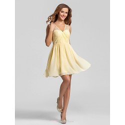 Short Mini Chiffon Bridesmaid Dress Daffodil Plus Sizes Petite A Line V Neck