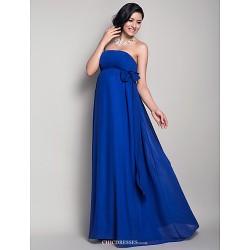 Floor Length Chiffon Bridesmaid Dress Royal Blue Maternity Sheath Column Strapless