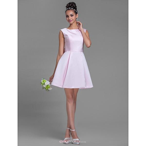 Short/Mini Satin Bridesmaid Dress - Blushing Pink Plus Sizes / Petite A-line Bateau Bridesmaid Dresses