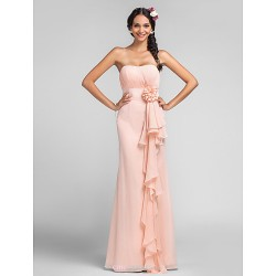 Dress Ruby Grape Royal Blue Champagne Pearl Pink Plus Sizes Petite Sheath Column Sweetheart Floor Length Chiffon