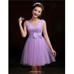 Short/Mini Lace Bridesmaid Dress - Purple / Candy Pink A-line V-neck Bridesmaid Dresses