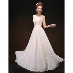 Formal Evening Wedding Party Dress Champagne Sheath Column One Shoulder Floor Length Chiffon