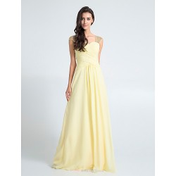 Floor-length Chiffon Bridesmaid Dress - Daffodil Plus Sizes / Petite Sheath/Column Queen Anne