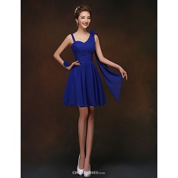 Short Mini Bridesmaid Dress Royal Blue Sheath Column Spaghetti Straps