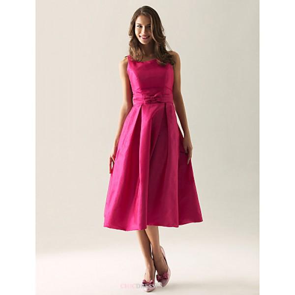 Tea-length Taffeta Bridesmaid Dress - Fuchsia Plus Sizes / Petite A-line / Princess Straps / Square Bridesmaid Dresses