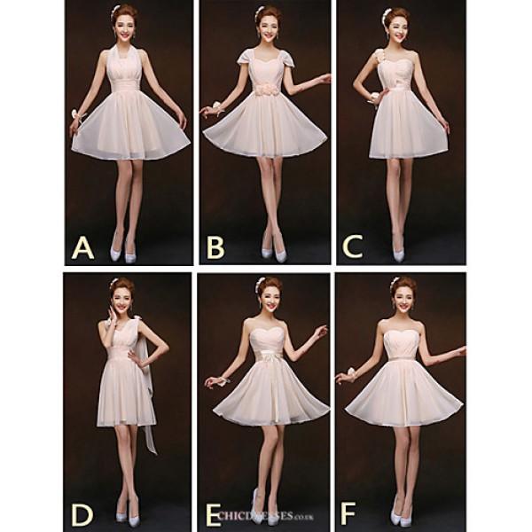 Mix & Match Dresses Short/Mini Chiffon 5 Styles Bridesmaid Dresses (2839957) Bridesmaid Dresses