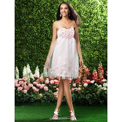 Knee Length Satin Tulle Bridesmaid Dress Blushing Pink Plus Sizes Petite A Line Princess Strapless