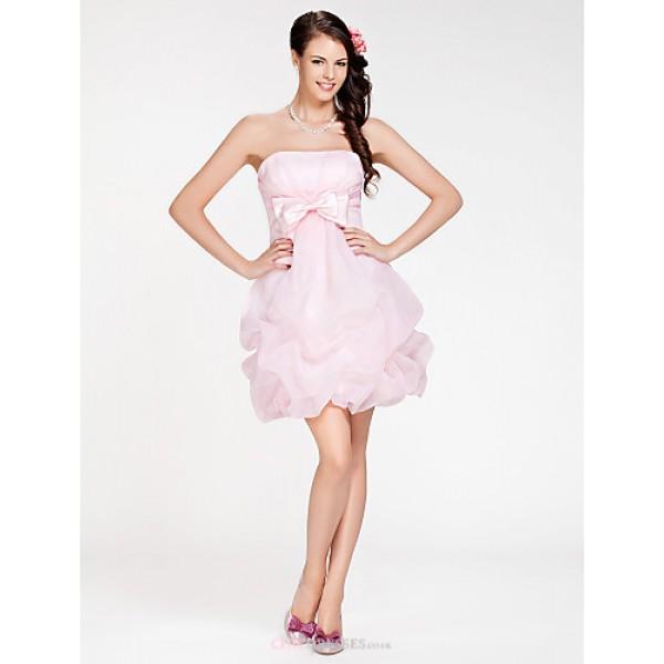 Short/Mini Organza Bridesmaid Dress - Blushing Pink Plus Sizes / Petite Ball Gown / A-line Strapless Bridesmaid Dresses