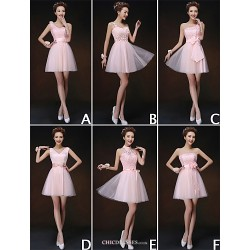 Mix & Match Dresses Short Mini Tulle And Lace 6 Styles Bridesmaid Dresses (3227920)