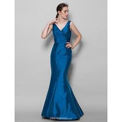 Floor Length Taffeta Bridesmaid Dress Ink Blue Trumpet Mermaid V Neck