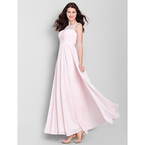 Ankle-length Chiffon Bridesmaid Dress - Blushing Pink A-line Scoop Bridesmaid Dresses