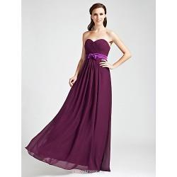 Floor Length Chiffon Bridesmaid Dress Grape Plus Sizes Petite Sheath Column Strapless Sweetheart
