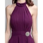 Asymmetrical Chiffon Bridesmaid Dress - Grape Plus Sizes / Petite A-line High Neck Bridesmaid Dresses