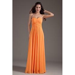 Formal Evening Dress Orange Plus Sizes Petite A Line Sweetheart Floor Length Chiffon