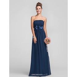 Floor Length Chiffon Bridesmaid Dress Dark Navy Plus Sizes Petite Sheath Column Strapless