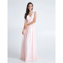 Floor Length Chiffon Bridesmaid Dress Blushing Pink Plus Sizes Petite Sheath Column V Neck