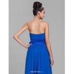 Tea-length Chiffon Bridesmaid Dress - Royal Blue Plus Sizes / Petite A-line Strapless Bridesmaid Dresses