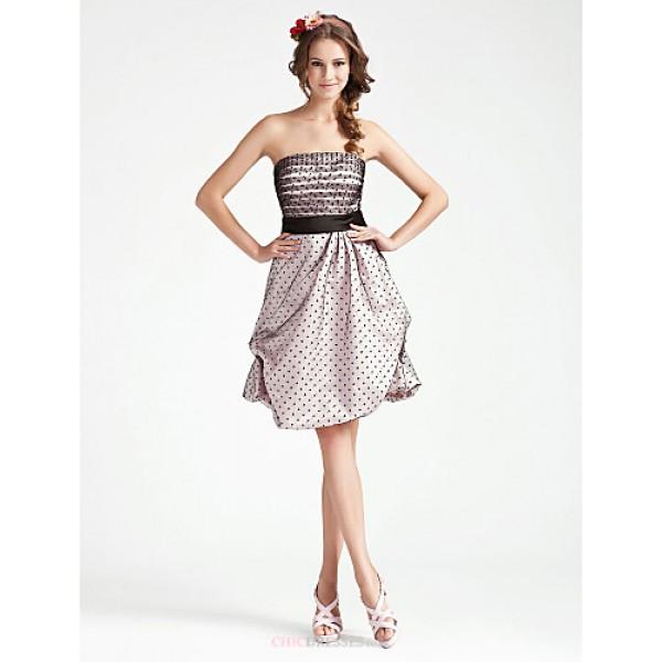 Cocktail Party / Wedding Party Dress - Multi-color Plus Sizes / Petite A-line / Princess Strapless Knee-length Satin / Tulle Bridesmaid Dresses